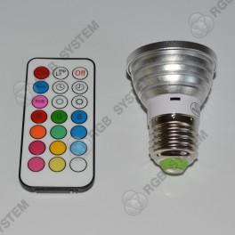 Barevná LED ŽÁROVKA 5W s dálkovým ovladačem