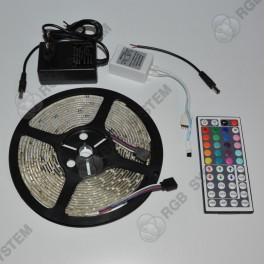 SET RGB barevný LED pásek voděodolný 5 m 300 LED 3528 IR DO 44 tlačítek zdroj