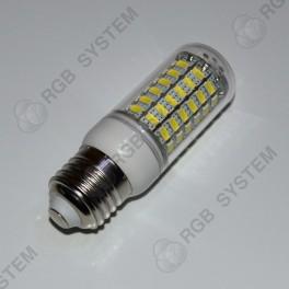 LED žárovka E27 230 V 6 W 69 LED 5050 SMD pure white (6000 - 6500 K)