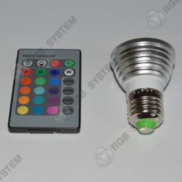 Barevná bodová LED ŽÁROVKA E27 s dálkovým ovladačem
