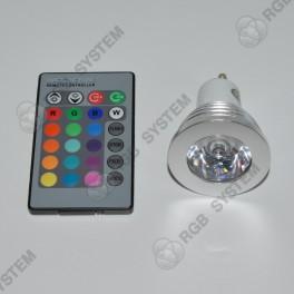 Barevná bodová LED ŽÁROVKA 230V GU10 s dálkovým ovladačem