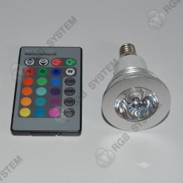 Barevná bodová LED ŽÁROVKA 230V E14 s dálkovým ovladačem